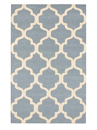 Handmade Trellis Rug, Cream/Light Blue, 5' x 8'