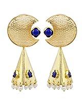 Gehnamart Yellow Gold Plated Cobalt Blue Quartz Drop Earring