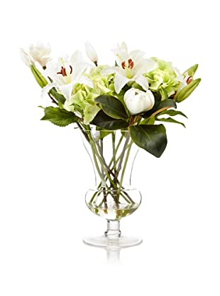 Winward Faux Floral Mix in Hurricane Vase, Green/White
