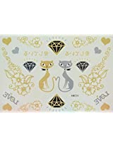 Spestyle Waterproof Tattoos Love Couple Cats, Diamond, Flowers And Love Silver And Golden Glitter Temporary Tattoo Stickers
