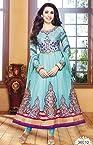 SGC- Sky Blue Georgette Kalidar Semi Stitched Anarkali Suit - K-36010