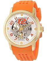 Stuhrling Original Men's 1070.3336F23 Classic Delphi Adonis Automatic Skeleton Orange Rubber Strap Watch