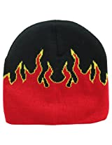 """Beanie Cap 8"""" Hat (Comes in 16 Colors and Designs) Black Red Flames AD"""
