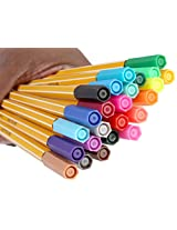 SKYGLORY Hexagonal 0.4mm Fine Point Fineliner Drawing Sketching Color Pen, 24 Piece Set