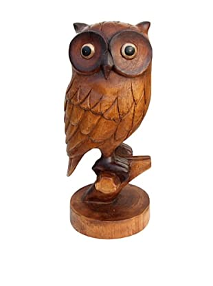 Asian Art Imports Hand Carved Owl, Natural Wood