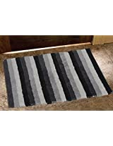 Avira Home 1500 GSM Stripes Reversible Mat-Bathmat-Door Mat-Floor Mat-100% Cotton-Black & White