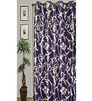 JBG Home Store Blue Stylish Flower Design Window Curtains (Set of 2)- 7 Ft