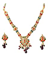 14Fashions Red Green Copper Necklace Set For Women_1100822