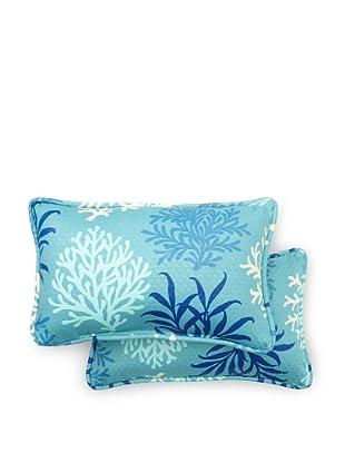 Set of 2 Marine Life Rectangle Decorative Throw Pillows (Pool)