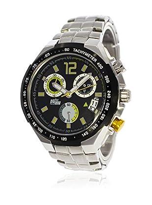 Pit Lane Uhr mit Miyota Uhrwerk Pl-1002-6 silberfarben 45 mm