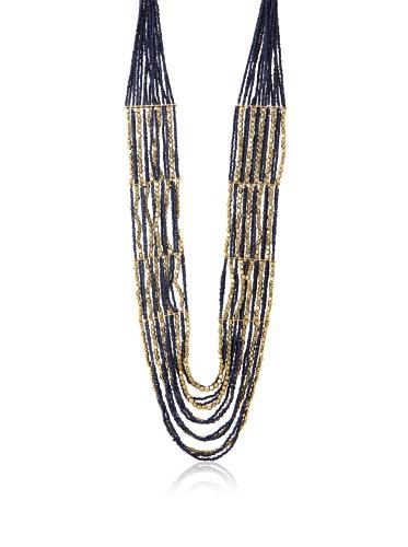 La Croix Rousse Beaded Necklace, Gold/Blue