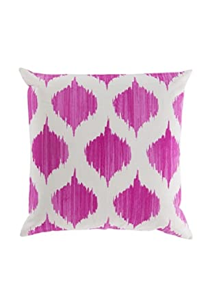 Surya Ikat Throw Pillow (Ivory/Magenta)