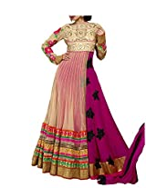 Admyrin Beige and Pink Embroidered Salwar Suit with Pink Dupatta