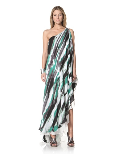 Halston Heritage Women's One-Shoulder Cascade Gown (Grass Water Color Stripe Print)