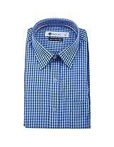 Ubique Mens Cotton Formal Shirt -Blue, White & Black -40 (LME010)