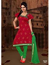 Attractive Designer Red And Green Salwar Suit FA218-1007