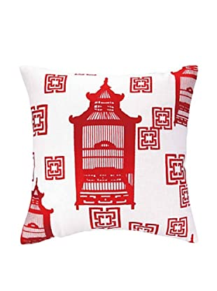Cococozy Birdcage Toile Pillow (Red)