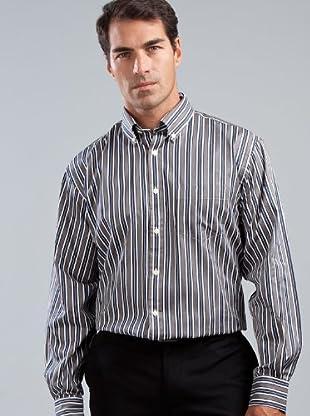 Cortefiel Camisa (Negro / Gris / Blanco)