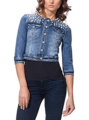 TIFFY &STAFF Cazadora Vaquera Denim Cropped With Pearls On Shoulders