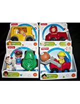 4 Fisher Price Little People/ Eddie & Fire Truck/ Mia & Tractor/Sofie & School Bus/Koby and Loader