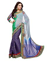 Shoppingover partywear saree in Shaded Blue colors