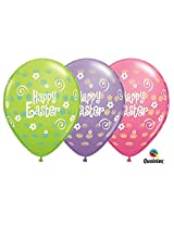Easter Dots Andf Flowers Qualatex Latex Balloons 25 Per Pack