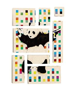 Banksy Panda With Guns Bright Dots 8-Piece Giclée On Canvas