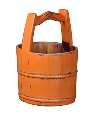 Antique Revival Crested-Handle Water Bucket, Orange