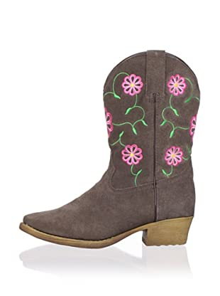 Dan Post Kid's Suede Boot with Flowers (Tan)