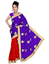 Chinco Embroidered Saree With Blouse Piece (1103-D_Blue & Red)