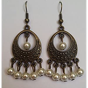Surya Creations Antique Finish Pearl Earrings