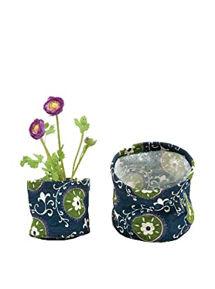 rockflowerpaper Set of 2 Jute Potted Plant Covers (Navy)
