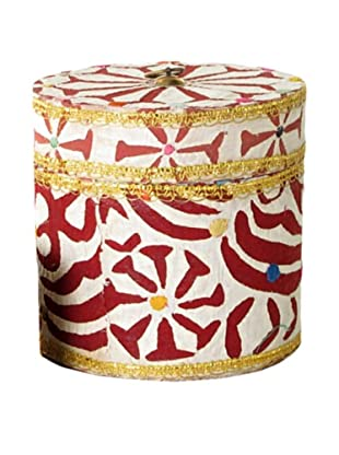 Circular Fabric & Bead Covered Box, Multi