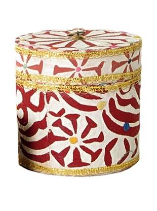 Circular Fabric & Bead Covered Box, Multi