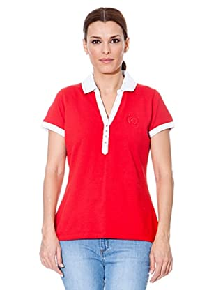 Cortefiel Polo Unifarben (Rot)