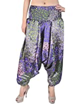 Exotic India Liberty-Blue and Pink Printed Harem Trousers - Color Liberty BlueGarment Size Free Size