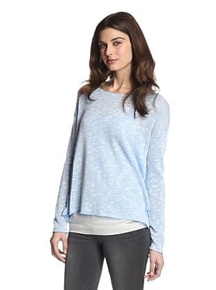525 America Women's Boatneck Slub Sweater (Silver Lake Combo)