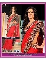 Bhuwal Fashion Red Semi Chiffon Bollywood Replica Saree