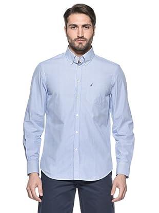 Nautica Camisa Millerighe Manga Larga (Blanco / Azul)