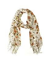 Wrapables Viscose Floral Print Scarf, Tawny Orange