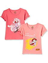 Chhota Bheem Girls' T-Shirt (Pack of 2) (GGAPP-CMB85D_Fuschia and Pink_7 - 8 years)