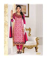 Pure Cotton Embroidered Pink Semi Stitched Anarkali Suit - 9005