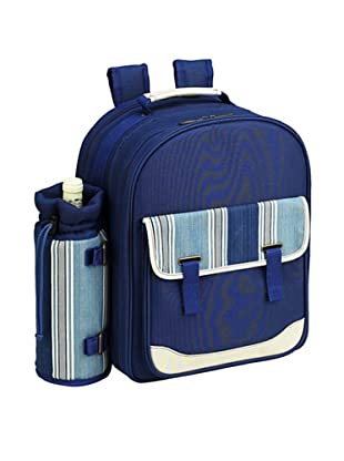 Picnic at Ascot Aegean Picnic Backpack Cooler for 4 (Denim/Blue Stripe)