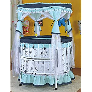 Rc Tots Metal round Baby cot baby crib for babies 0-3 years (Blue)
