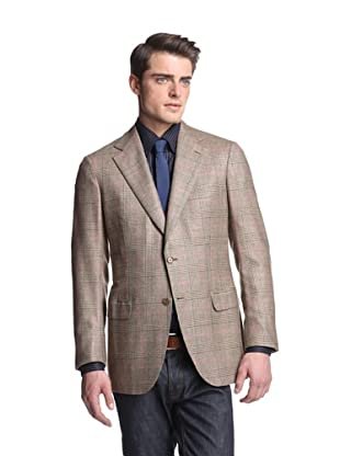 Brioni Men's Glen Plaid Jacket (Brown/Pink)
