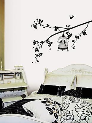 Vinilo Pegatina de pared de árboles y jaulas de pájaros Negro