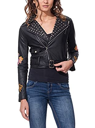 DROLE DE COPINE Chaqueta Cropped Biker With Tacks And Birds Embroidery