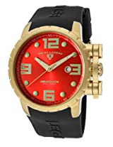 Ambassador Black Silicone Red Dial Gold-Tone Case (30021-Yg-05)