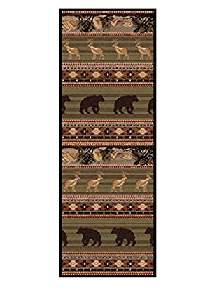 Universal Rugs Nature Lodge Runner, Green, 3' x 8'