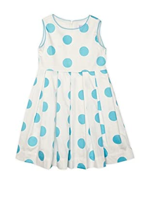 Rachel Riley Vestido Polka Dot (Blanco / Turquesa)
